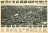 Vintage Ansonia Print, Aerial Ansonia Photo, Vintage Ansonia CT Pic, Old Ansonia Photo, Ansonia Connecticut Poster, 1921