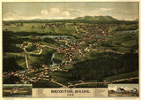 Vintage Bridgton Print, Aerial Bridgton Photo, Vintage Bridgton ME Pic, Old Bridgton Photo, Bridgton Maine Poster, 1888