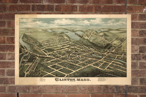Vintage Clinton Print, Aerial Clinton Photo, Vintage Clinton MA Pic, Old Clinton Photo, Clinton Massachusetts Poster, 1876