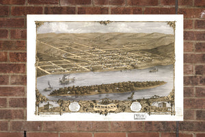 Vintage Hermann Print, Aerial Hermann Photo, Vintage Hermann MO Pic, Old Hermann Photo, Hermann Missouri Poster, 1869