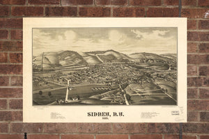 Vintage Sidney Print, Aerial Sidney Photo, Vintage Sidney NY Pic, Old Sidney Photo, Sidney New York Poster, 1887