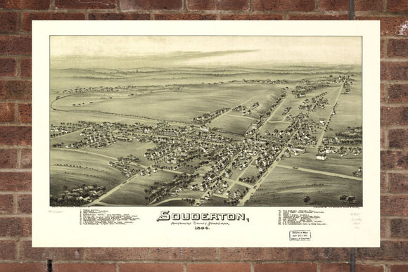 Vintage Souderton Print, Aerial Souderton Photo, Vintage Souderton PA Pic, Old Souderton Photo, Souderton Pennsylvania Poster, 1894