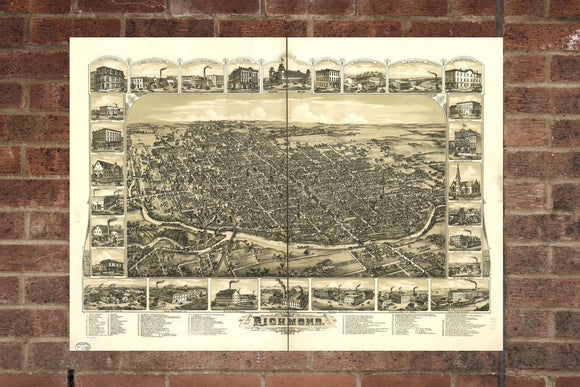 Vintage Richmond Print, Aerial Richmond Photo, Vintage Richmond IN Pic, Old Richmond Photo, Richmond Indiana Poster, 1884