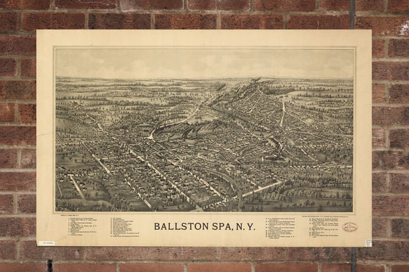 Vintage Ballston Spa Print, Aerial Ballston Spa Photo, Vintage Ballston Spa NY Pic, Old Ballston Spa Photo, Ballston Spa New York Poster