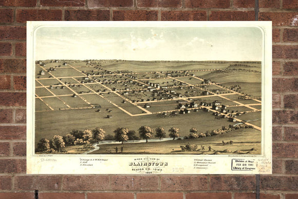 Vintage Blairstown Print, Aerial Blairstown Photo, Vintage Blairstown IA Pic, Old Blairstown Photo, Blairstown Iowa Poster, 1868