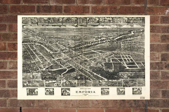 Vintage Emporia Print, Aerial Emporia Photo, Vintage Emporia VA Pic, Old Emporia Photo, Emporia Virginia Poster, 1907