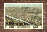 Vintage Lafayette Print, Aerial Lafayette Photo, Vintage Lafayette IN Pic, Old Lafayette Photo, Lafayette Indiana Poster, 1868