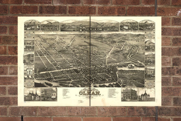 Vintage Olean Print, Aerial Olean Photo, Vintage Olean NY Pic, Old Olean Photo, Olean New York Poster, 1882
