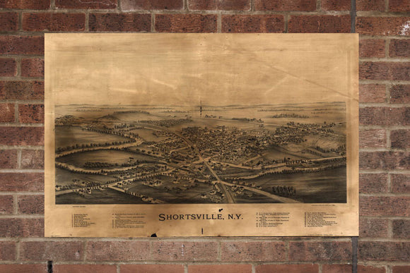 Vintage Shortsville Print, Aerial Shortsville Photo, Vintage Shortsville NY Pic, Old Shortsville Photo, Shortsville New York Poster, 1892