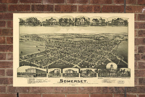 Vintage Somerset Print, Aerial Somerset Photo, Vintage Somerset PA Pic, Old Somerset Photo, Somerset Pennsylvania Poster, 1900