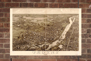 Vintage Troy Print, Aerial Troy Photo, Vintage Troy NY Pic, Old Troy Photo, Troy New York Poster, 1881