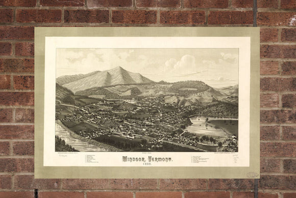 Vintage Windsor Print, Aerial Windsor Photo, Vintage Windsor VT Pic, Old Windsor Photo, Windsor Vermont Poster, 1886