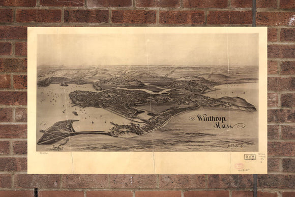 Vintage Winthrop Print, Aerial Winthrop Photo, Vintage Winthrop MA Pic, Old Winthrop Photo, Winthrop Massachusetts Poster, 1894
