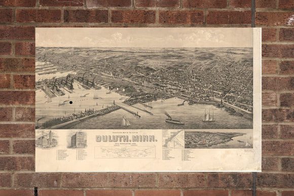 Vintage Duluth Print, Aerial Duluth Photo, Vintage Duluth MN Pic, Old Duluth Photo, Duluth Minnesota Poster, 1893