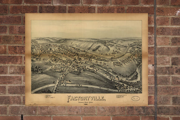 Vintage Factoryville Print, Aerial Factoryville Photo, Vintage Factoryville PA Pic, Old Factoryville Photo, Factoryville Pennsylvania Poster