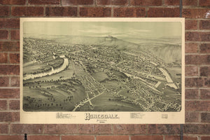 Vintage Honesdale Print, Aerial Honesdale Photo, Vintage Honesdale PA Pic, Old Honesdale Photo, Honesdale Pennsylvania Poster, 1890