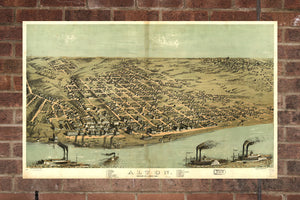 Vintage Alton Print, Aerial Alton Photo, Vintage Alton IL Pic, Old Alton Photo, Alton Illinois Poster, 1867