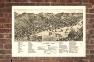 Vintage Bellaire Print, Aerial Bellaire Photo, Vintage Bellaire OH Pic, Old Bellaire Photo, Bellaire Ohio Poster, 1882