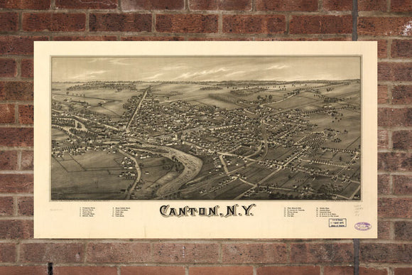 Vintage Canton Print, Aerial Canton Photo, Vintage Canton NY Pic, Old Canton Photo, Canton New York Poster, 1885