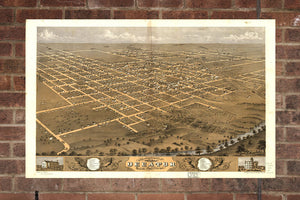 Vintage Decatur Print, Aerial Decatur Photo, Vintage Decatur IL Pic, Old Decatur Photo, Decatur Illinois Poster, 1869