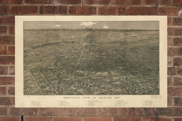 Vintage Denver Print, Aerial Denver Photo, Vintage Denver CO Pic, Old Denver Photo, Denver Colorado Poster, 1887