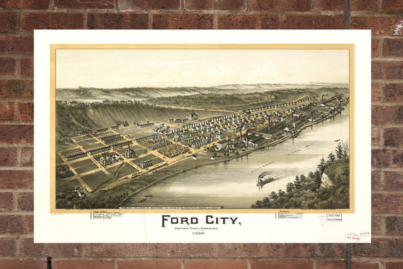 Vintage Ford City Print, Aerial Ford City Photo, Vintage Ford City PA Pic, Old Ford City Photo, Ford City Pennsylvania Poster, 1896