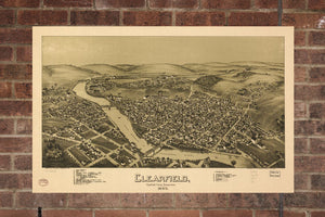 Vintage Clearfield Print, Aerial Clearfield Photo, Vintage Clearfield PA Pic, Old Clearfield Photo, Clearfield Pennsylvania Poster, 1895