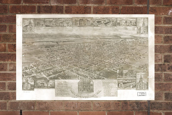 Vintage Mechanicsburg Print, Aerial Mechanicsburg, Vintage Mechanicsburg PA Pic, Old Mechanicsburg Pic, Mechanicsburg Pennsylvania Poster