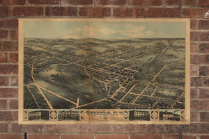 Vintage Oneida Print, Aerial Oneida Photo, Vintage Oneida NY Pic, Old Oneida Photo, Oneida New York Poster, 1874