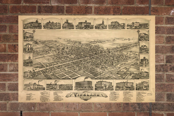 Vintage Vineland Print, Aerial Vineland Photo, Vintage Vineland NJ Pic, Old Vineland Photo, Vineland New Jersey Poster, 1885