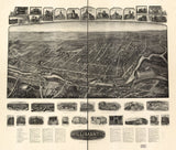 Vintage Willimantic Print, Aerial Willimantic Photo, Vintage Willimantic CT Pic, Old Willimantic Photo, Willimantic Connecticut Poster, 1909