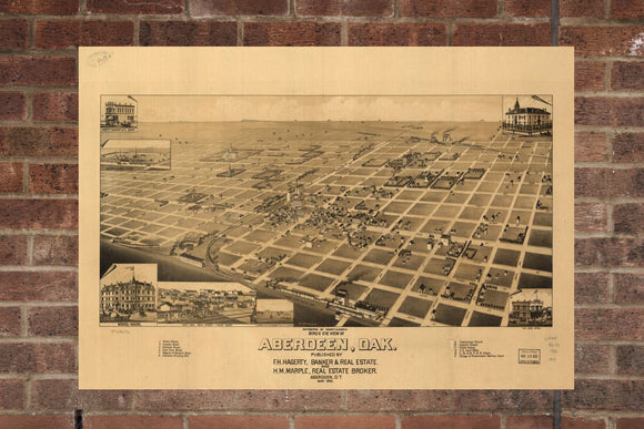 Vintage Aberdeen Print, Aerial Aberdeen Photo, Vintage Aberdeen SD Pic, Old Aberdeen Photo, Aberdeen South Dakota Poster, 1883