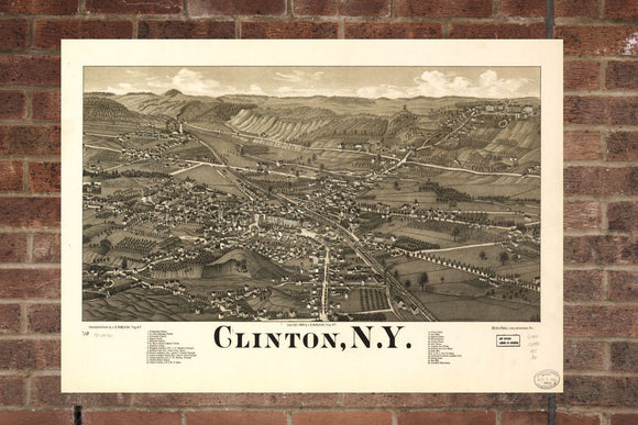 Vintage Clinton Print, Aerial Clinton Photo, Vintage Clinton NY Pic, Old Clinton Photo, Clinton New York Poster, 1885