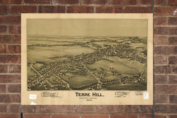 Vintage Terre Hill Print, Aerial Terre Hill Photo, Vintage Terre Hill PA Pic, Old Terre Hill Photo, Terre Hill Pennsylvania Poster, 1894