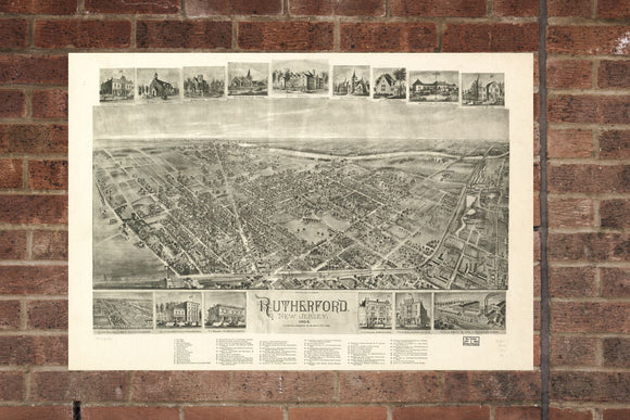 Vintage Rutherford Print, Aerial Rutherford Photo, Vintage Rutherford NJ Pic, Old Rutherford Photo, Rutherford New Jersey Poster, 1904