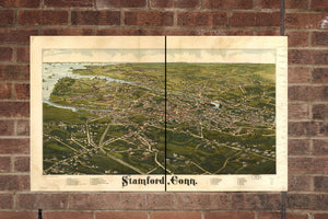 Vintage Stamford Print, Aerial Stamford Photo, Vintage Stamford CT Pic, Old Stamford Photo, Stamford Connecticut Poster, 1883