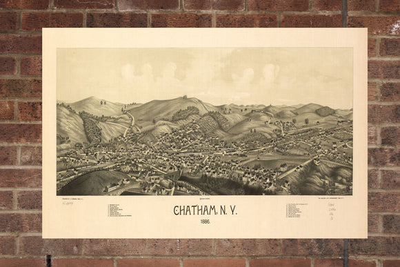 Vintage Chatham Print, Aerial Chatham Photo, Vintage Chatham NY Pic, Old Chatham Photo, Chatham New York Poster, 1886