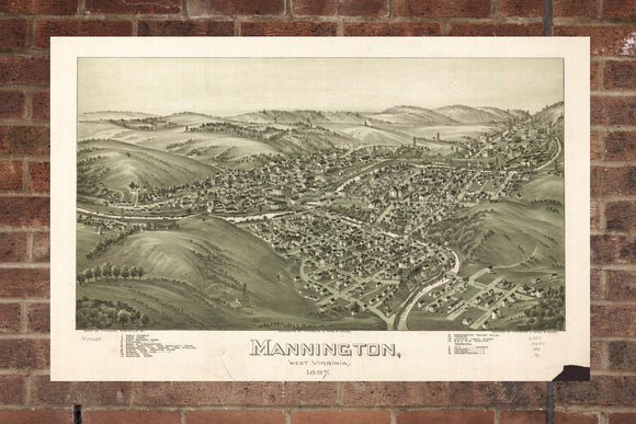 Vintage Mannington Print, Aerial Mannington Photo, Vintage Mannington WV Pic, Old Mannington Photo, Mannington West Virginia Poster, 1897