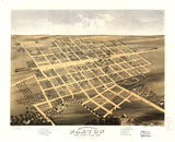 Vintage Paxton Print, Aerial Paxton Photo, Vintage Paxton IL Pic, Old Paxton Photo, Paxton Illinois Poster, 1869