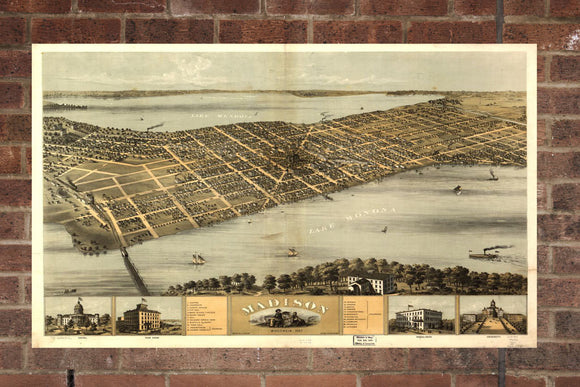 Vintage Madison Print, Aerial Madison Photo, Vintage Madison WI Pic, Old Madison Photo, Madison Wisconsin Poster, 1867