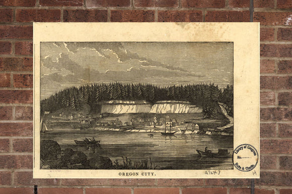 Vintage Oregon City Print, Aerial Oregon City Photo, Vintage Oregon City OR Pic, Old Oregon City Photo, Oregon City Oregon Poster, 1850