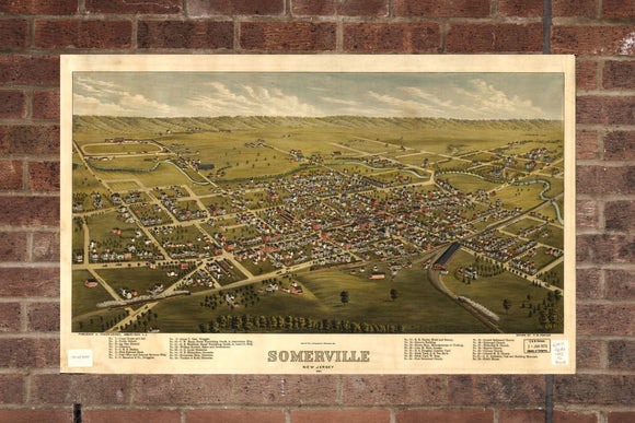 Vintage Somerville Print, Aerial Somerville Photo, Vintage Somerville NJ Pic, Old Somerville Photo, Somerville New Jersey Poster, 1882