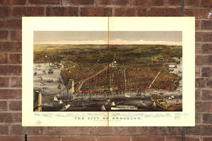 Vintage Brooklyn Print, Aerial Brooklyn Photo, Vintage Brooklyn NY Pic, Old Brooklyn Photo, Brooklyn New York Poster, 1879