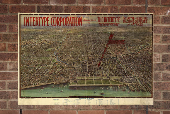 Vintage Chicago Print, Aerial Chicago Photo, Vintage Chicago IL Pic, Old Chicago Photo, Chicago Illinois Poster, 1916