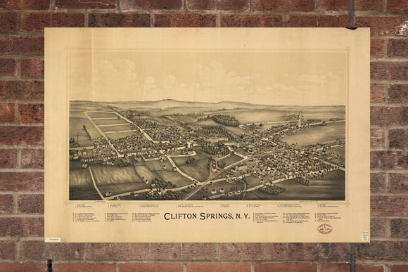 Vintage Clifton Springs Print, Aerial Clifton Springs, Vintage Clifton Springs NY Pic, Old Clifton Springs, Clifton Springs New York Poster