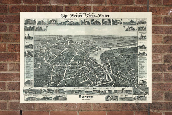 Vintage Exeter Print, Aerial Exeter Photo, Vintage Exeter NH Pic, Old Exeter Photo, Exeter New Hampshire Poster, 1896