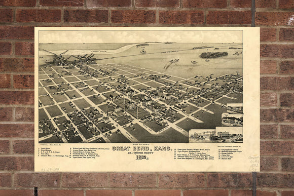 Vintage Great Bend Print, Aerial Great Bend Photo, Vintage Great Bend KS Pic, Old Great Bend Photo, Great Bend Kansas Poster, 1882