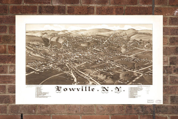 Vintage Lowville Print, Aerial Lowville Photo, Vintage Lowville NY Pic, Old Lowville Photo, Lowville New York Poster, 1885