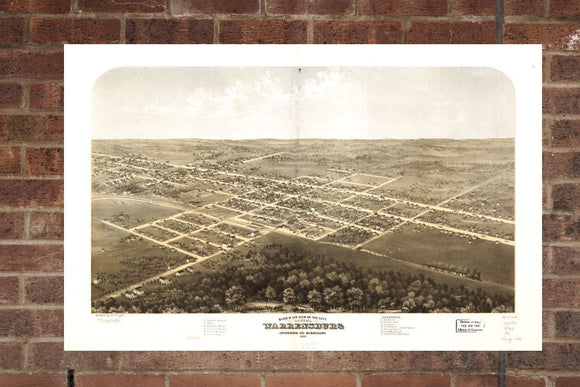 Vintage Warrensburg Print, Aerial Warrensburg Photo, Vintage Warrensburg MO Pic, Old Warrensburg Photo, Warrensburg Missouri Poster, 1869