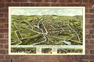 Vintage Wolcottville Print, Aerial Wolcottville Photo, Vintage Wolcottville CT Pic, Old Wolcottville Photo, Wolcottville Connecticut Poster
